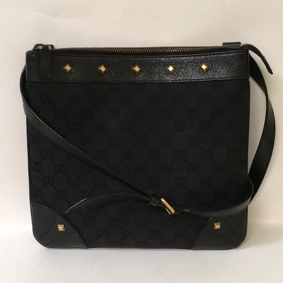 09fc29548639 Gucci Bags | Black Canvas Studded Crossbody Messenger Bag | Poshmark